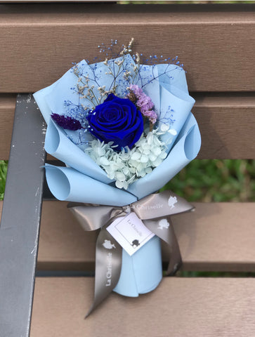 Royal Blue 迷你貴族寶藍保鮮玫瑰花束 Mini Surprise Preserved Rose Bouquet