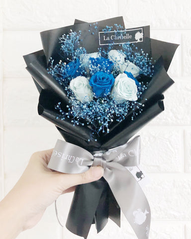 迷你版天長地久9枝藍色保鮮玫瑰花束  Le Petit Forever Love Preserved Blue Rose  Flower Bouquet