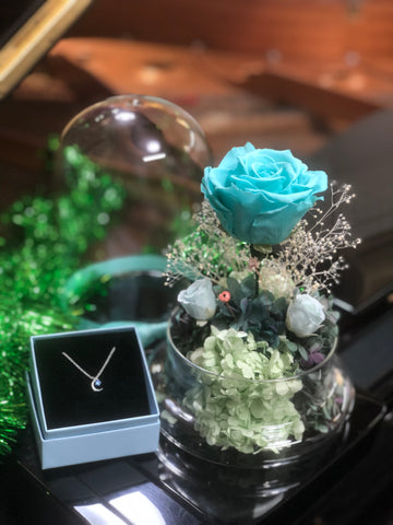禮品套裝Tiffany Blue 玫瑰花園保鮮花禮 Mint Green Preserved Flowers