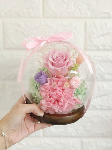 (情人節預訂) 浪漫水晶球保鮮花 Boule de Cristal Crystal Ball Pink Preserved Flowers