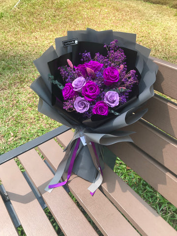 天長地久9 枝貴族紫保鮮玫瑰花束 Forever Love 9  & Purple Preserved Roses Bouquet