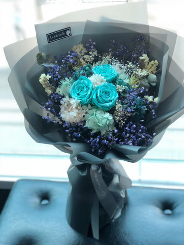 Tiffany Blue 3 枝保鮮玫瑰花束  Tiffany Blue Preserved Roses Bouquet