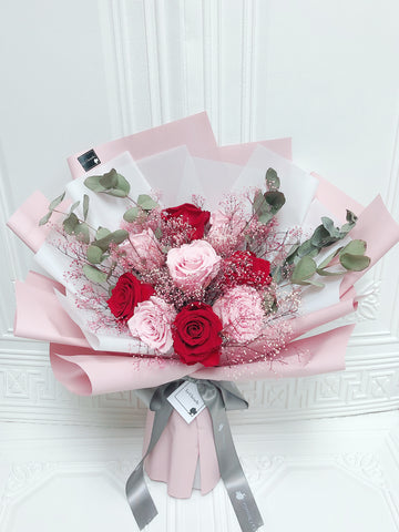 天長地久9枝粉紅色紅色保鮮玫瑰花束 Forever Love Red Pink Preserved Rose Flower Bouquet