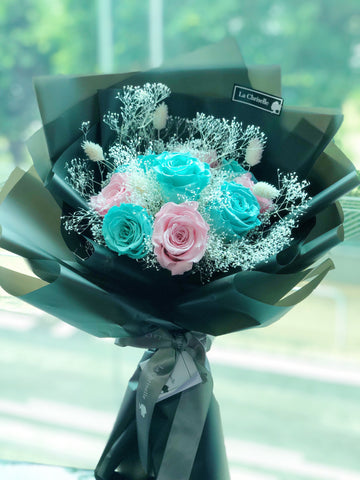 Tiffany Blue + 粉紅天長地久9 枝保鮮玫瑰花束  Tiffany Blue & Pink Forever Love Preserved Roses Bouquet