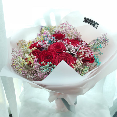 天長地久9枝 紅色保鮮玫瑰花束 Forever Love Preserved Red Rose  Flower Bouquet