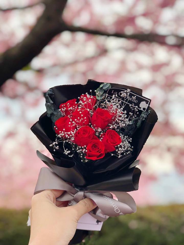 迷你版天長地久9枝紅色保鮮玫瑰花束  Le Petit Forever Love Red Preserved Rose Flower Bouquet