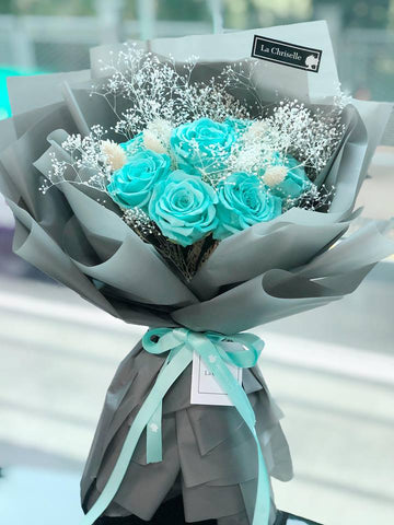 (即日希慎廣場/旺角TOP 商場取) Tiffany Blue 天長地久9 枝保鮮玫瑰花束  Tiffany Blue Forever Love Preserved Roses Bouquet
