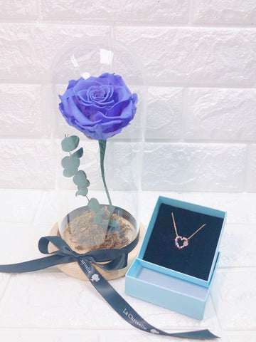 紫色美女與野獸之保鮮玫瑰 +甜蜜心心 頸鏈 Purple Beauty and the Beast Preserved Rose Flower + Sweet Heart Necklace