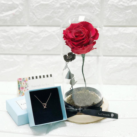 (情人節預訂)美女與野獸之保鮮玫瑰 + 傾心頸鏈 Red Beauty and the Beast Preserved Rose Flower + My Sweet Heart Necklace