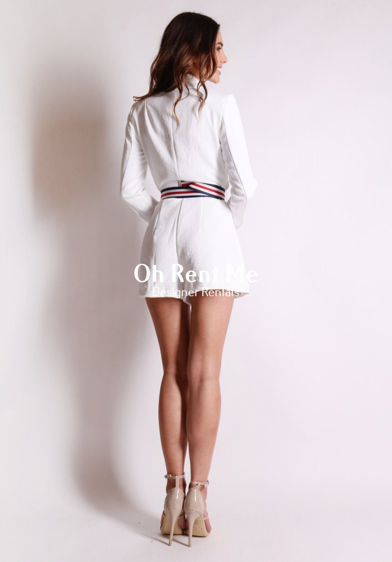 Ribbon Playsuit - White Clothing Kookai