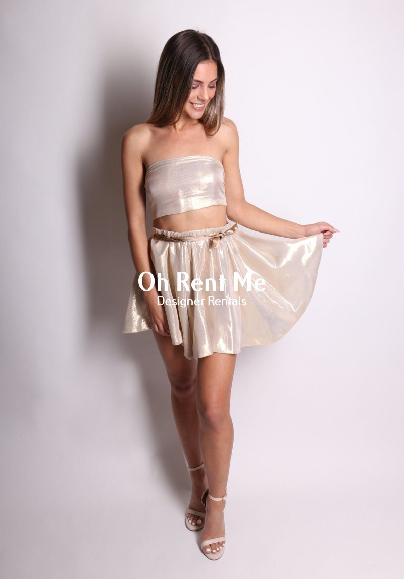High Sheen Gold Silk - Two Piece Mini Clothing Sisters The Label