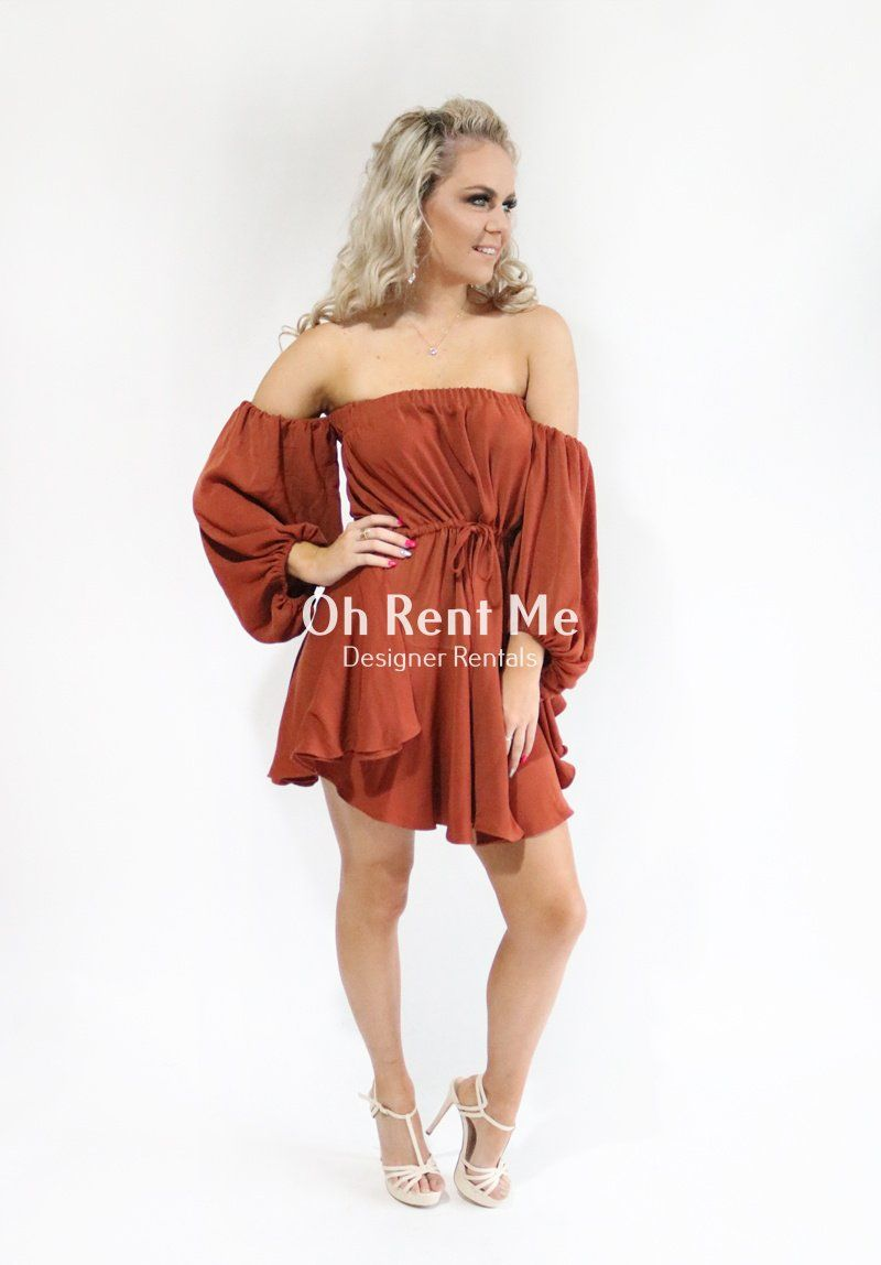 Off the Shoulder Drawstring Mini Rust Clothing Shona Joy