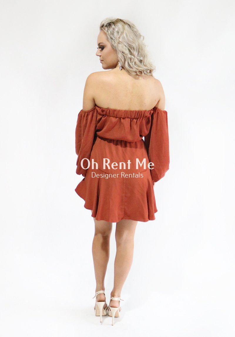 Off the Shoulder Drawstring Mini Rust