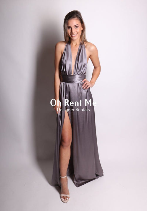 Satin Silk Slate - Multiway Gown Clothing Sisters The Label