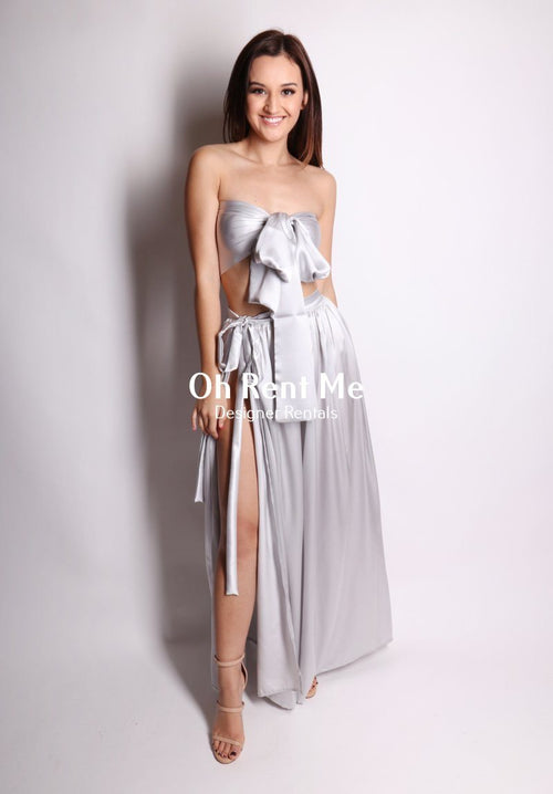 Satin Silk Silver - Wrap Two Piece Gown