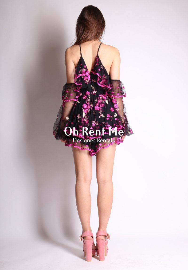 SELL - A Girl Like You Playsuit - Black & Violet Gift Card Ex Rentals