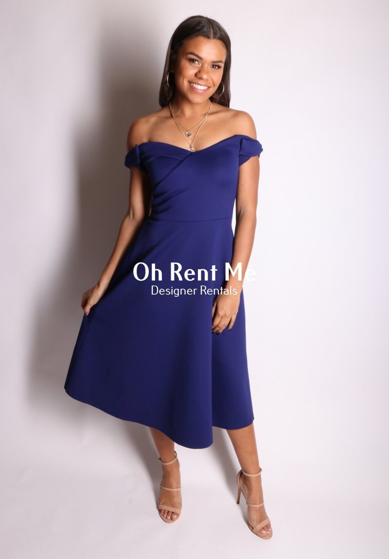Blue Rachele Off Shoulder Dress Clothing Saloni