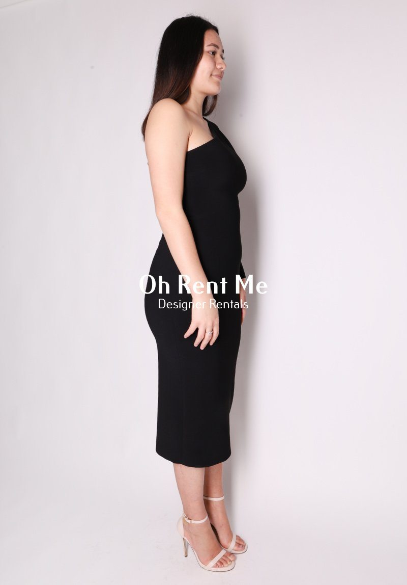Elke Asymmetric Midi Dress - Black Clothing Bec and Bridge