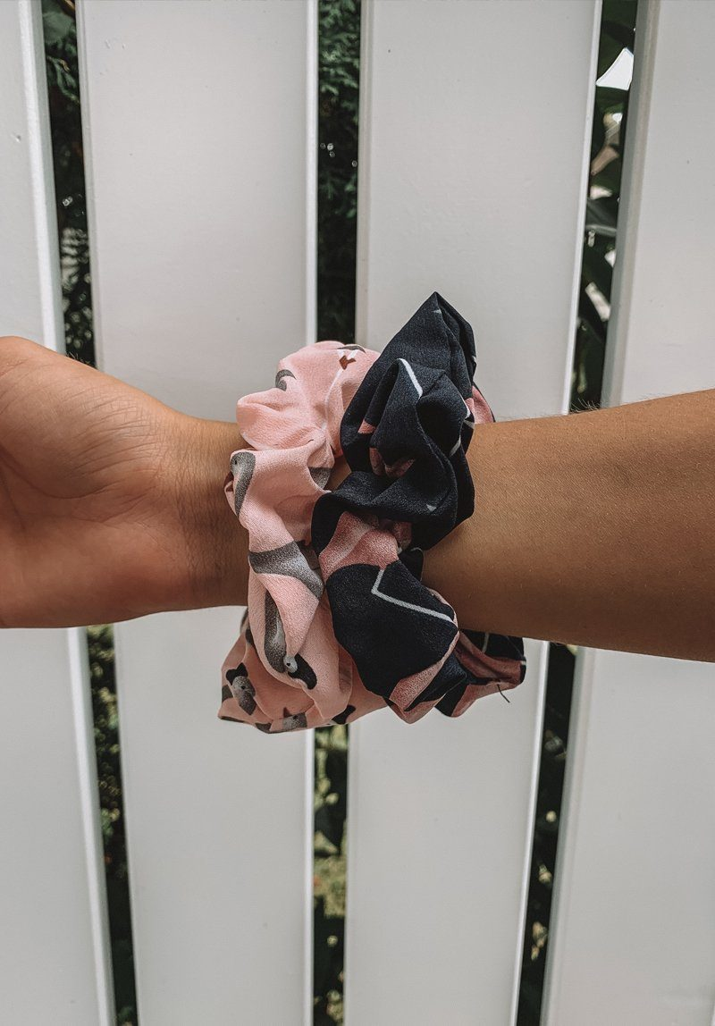 Flamingo Set Two Scrunchie Pack Gift Card Oh Rent Me