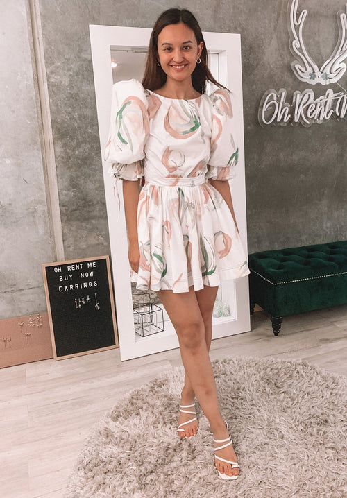 Imprint Mini Dress - Painterly Lace Leaf Clothing Aje