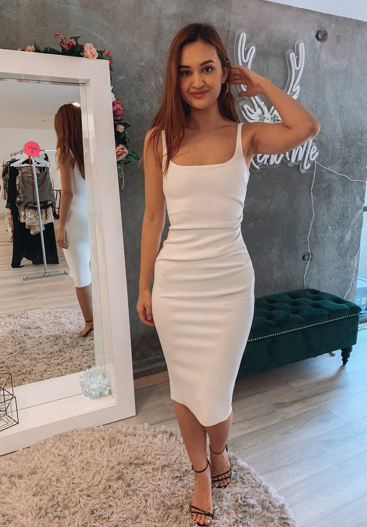 Karina Tuck Midi Dress - Ivory Clothing Bec and Bridge