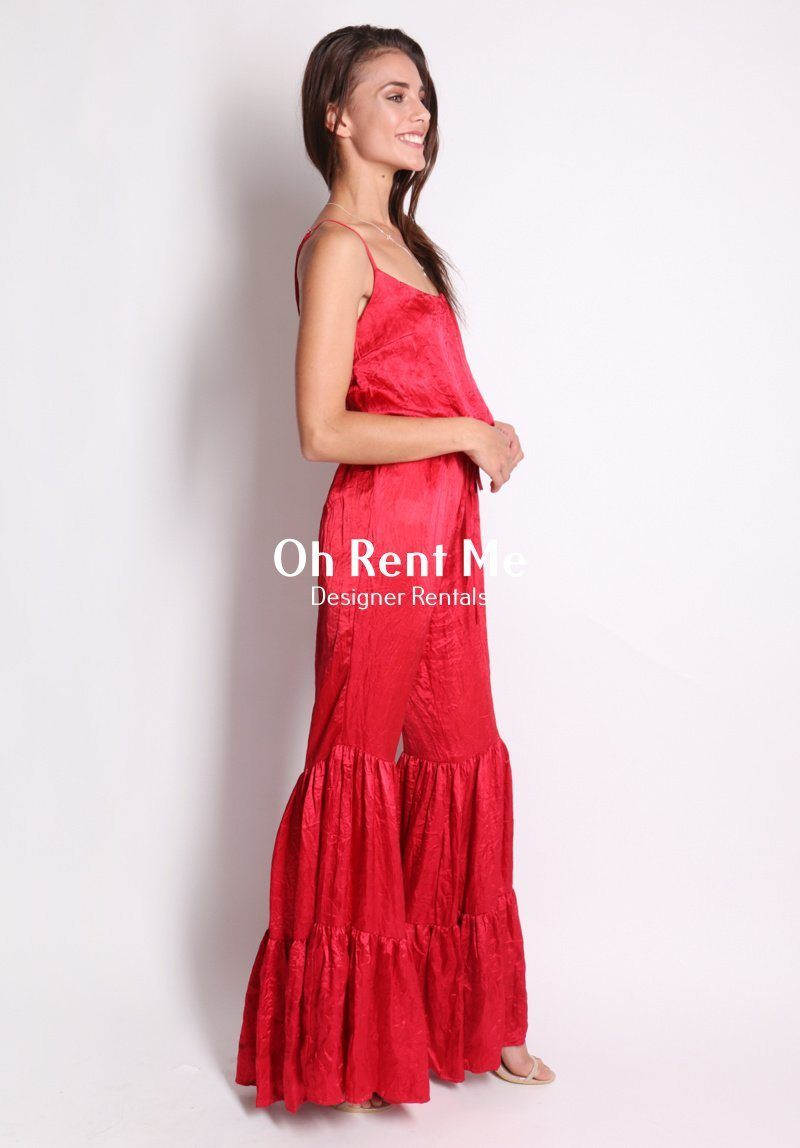 SELL - Love a Flare Jumpsuit - Red Gift Card Ex Rentals