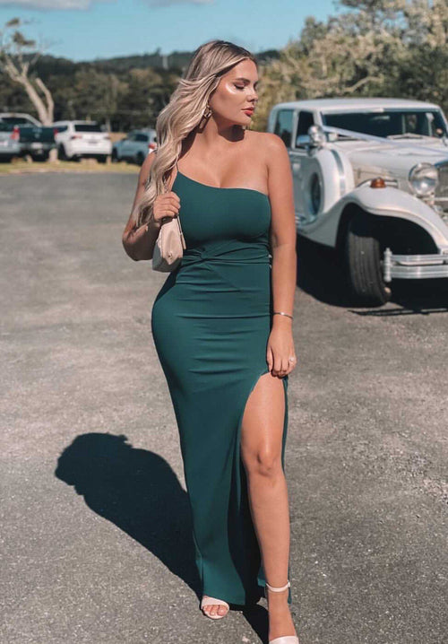 Lust One Shoulder Gown - Teal Clothing Nookie