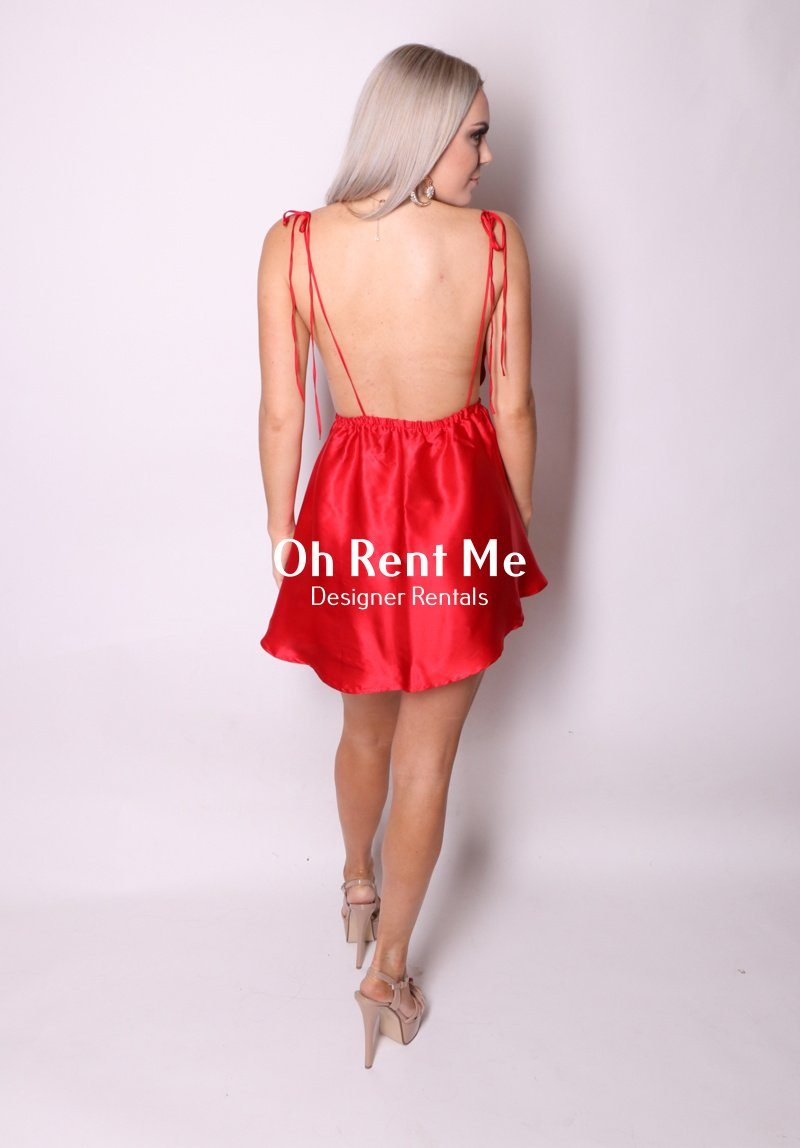 Satin Silk Rouge - Dove Bows Mini Dress Clothing Sisters The Label