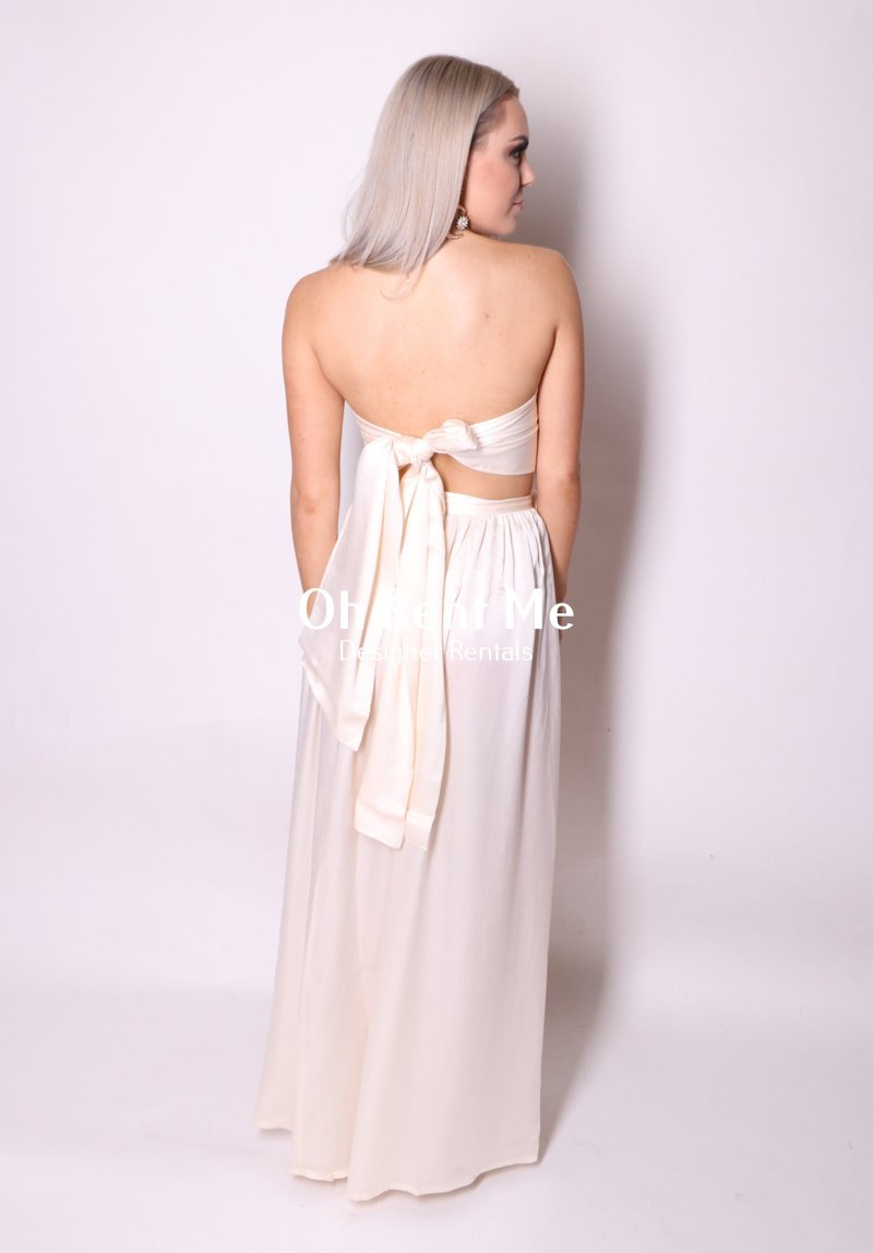 Satin Silk Pearl - Wrap Two Piece Gown Clothing Sisters The Label