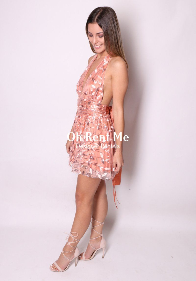 Embellished Flora Peach Silk - Mini Dress Clothing Sisters The Label