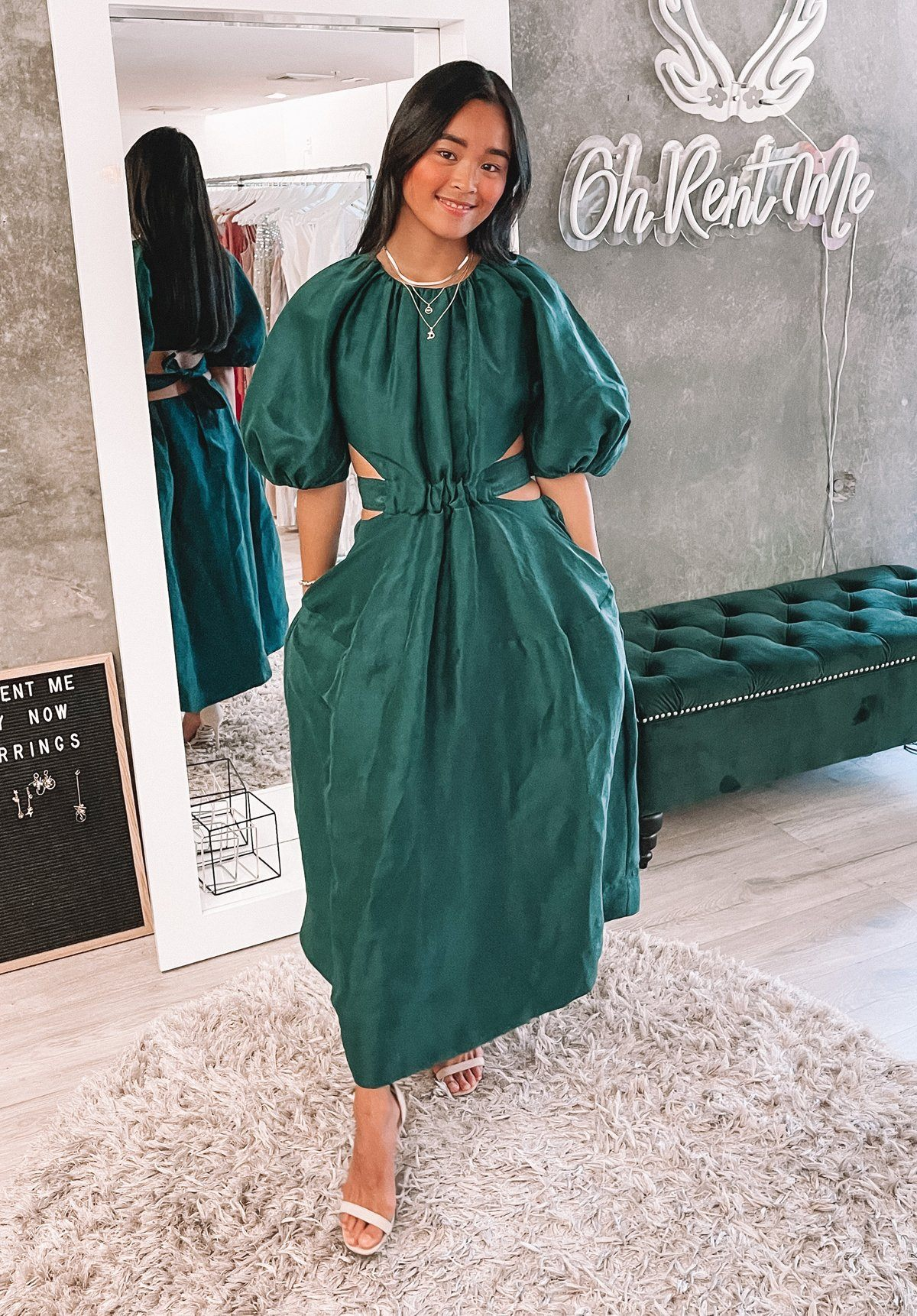 Mimosa Cutout Midi Dress - Emerald Clothing Aje