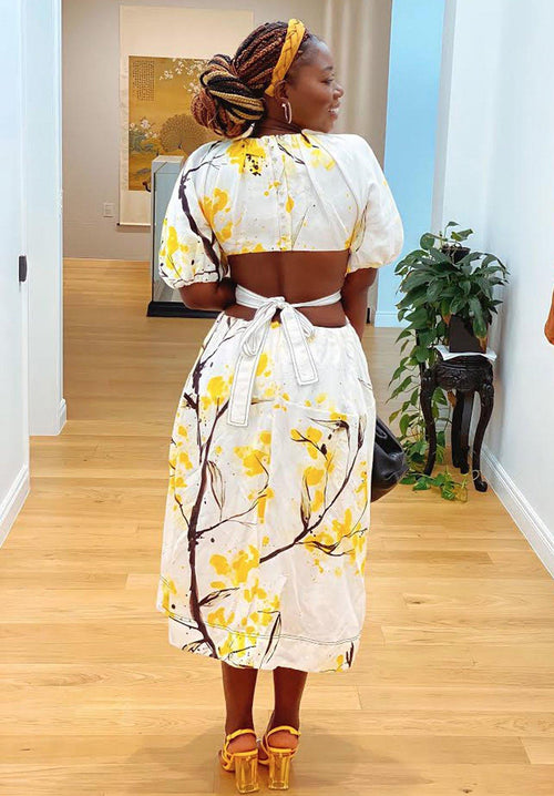 Mimosa Shirred Cut Out Midi Clothing Aje