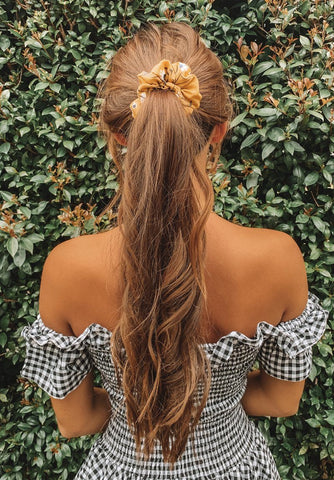 Lemon Flowers Scrunchie