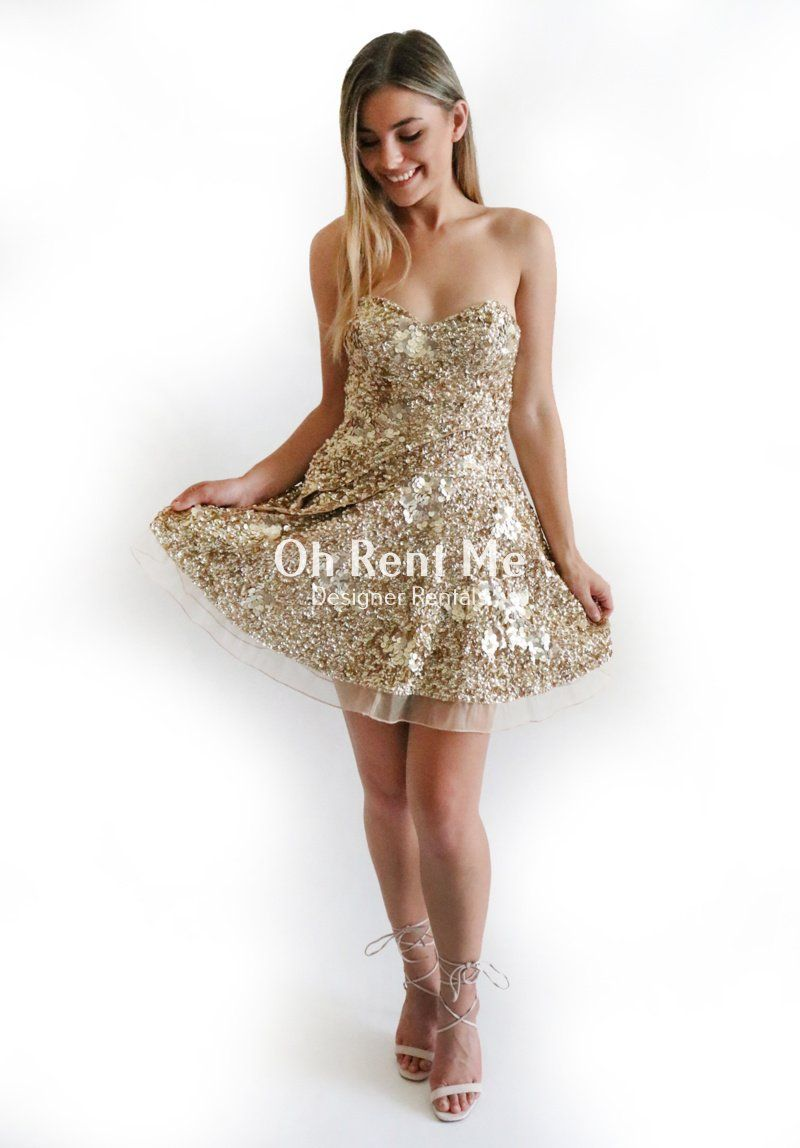 Gigi Dress in Gold Sequin Clothing Aje