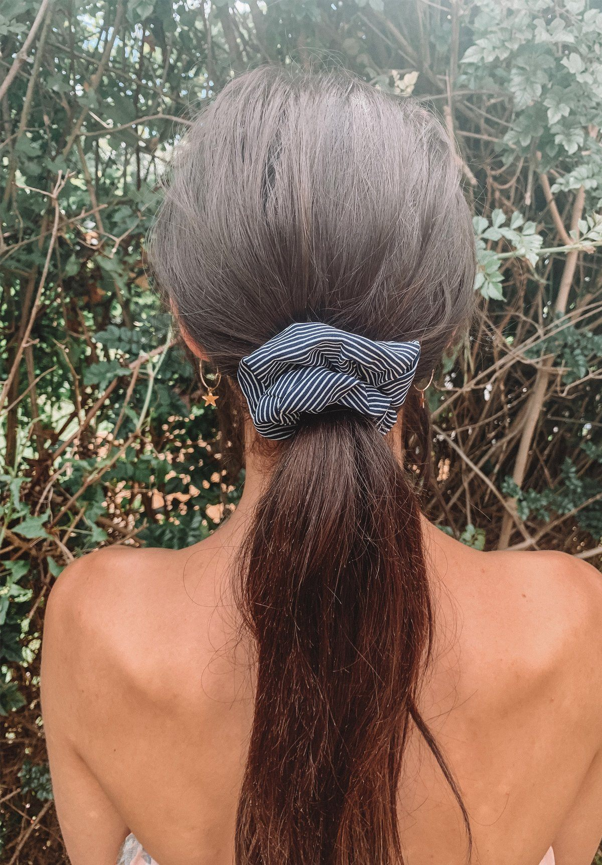Stripy Navy Scrunchie Gift Card Oh Rent Me