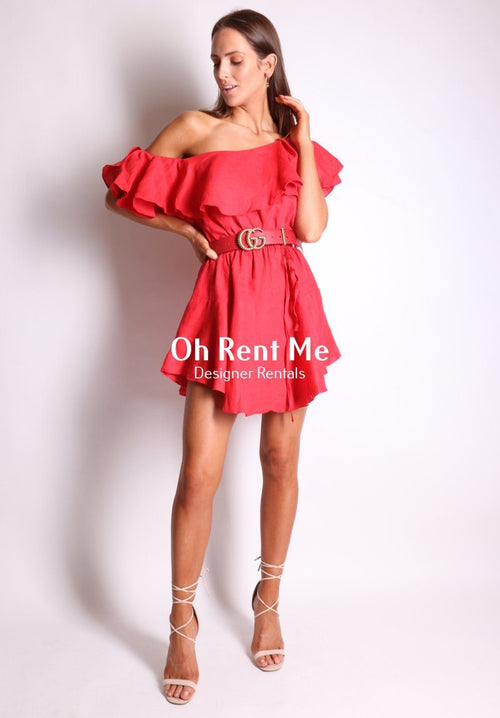 One Shoulder Linen Red Ruffle Dress - S