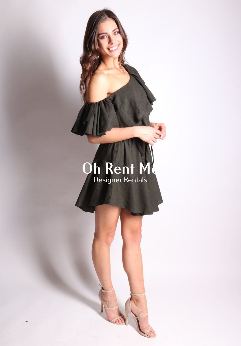 One Shoulder Linen Khaki Ruffle Dress Clothing MLM