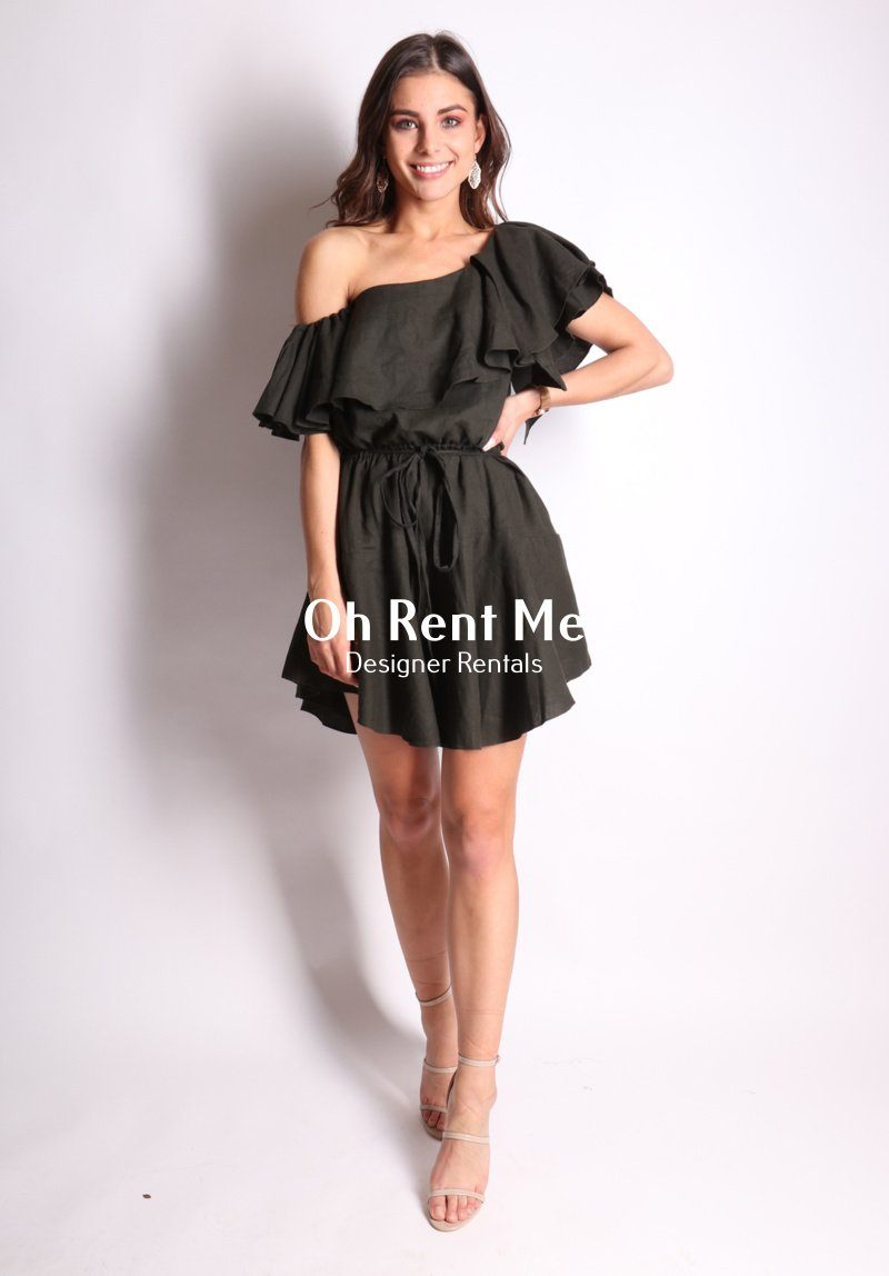 One Shoulder Linen Ruffle Dress - S
