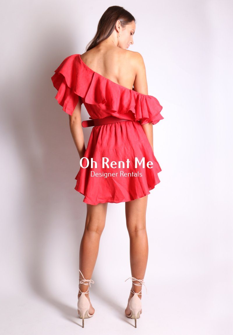 One Shoulder Linen Red Ruffle Dress Clothing MLM