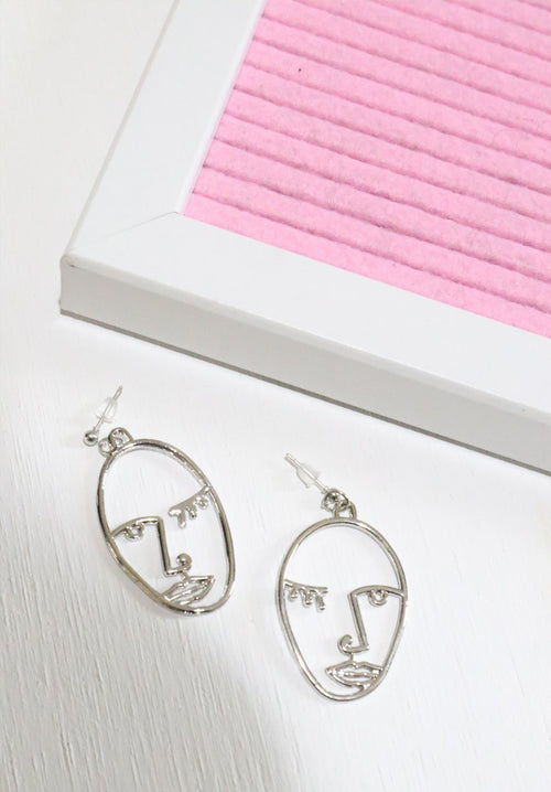 Portrait Earrings - Silver