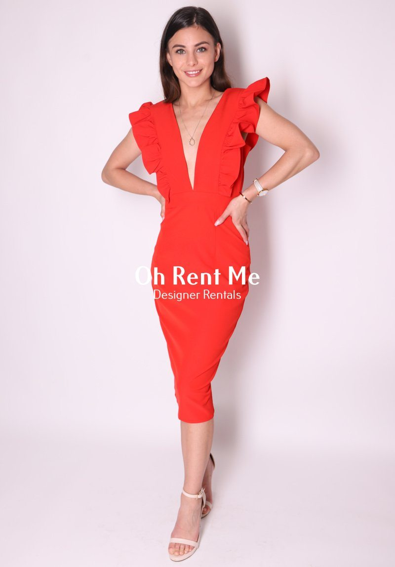 Frill Plunge Midi Dress Clothing Runway
