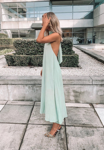 One Shoulder Linen Khaki Ruffle Dress