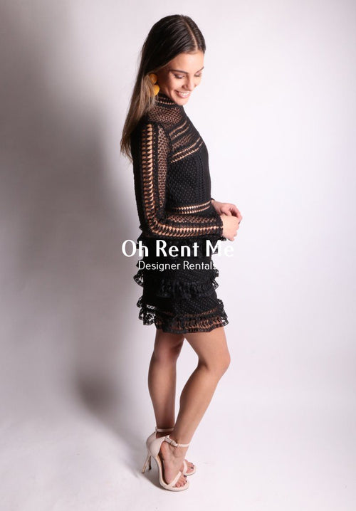 Tiered Guipere Black Lace Long Sleeved Clothing Self Portrait
