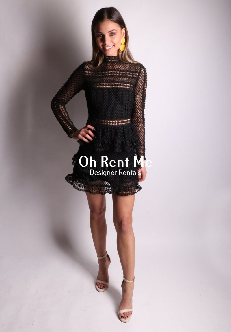 Tiered Guipere Black Lace Long Sleeved
