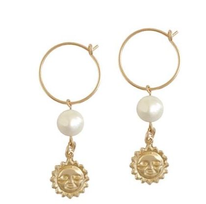 Misuzi Pearl and Sun Charm Earrings
