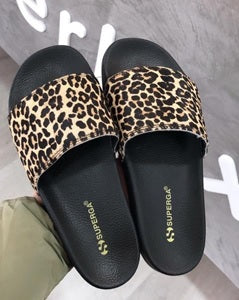 Superga Pool Slide - Black Leopard