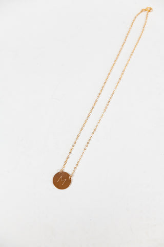 Misuzi The Chloe Initial Disc Necklace- Gold - HyperLuxe Activewear