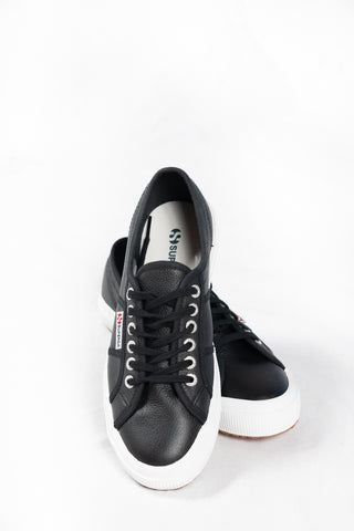 Superga 2750 Cotu Leather - Black/White - HyperLuxe Activewear