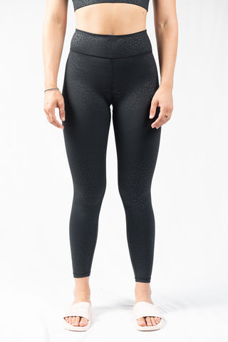 Vie Active Rockell 7/8 Legging- Black Leopard Embossed - HyperLuxe Activewear