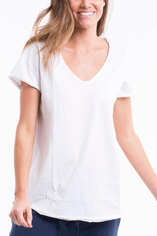 Elm Fundamental Vee Tee- White - HyperLuxe Activewear